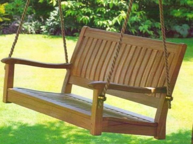 2019 Curved Back 4 Foot Teak Outdoor Porch Swing (Gallery 1 of 20)