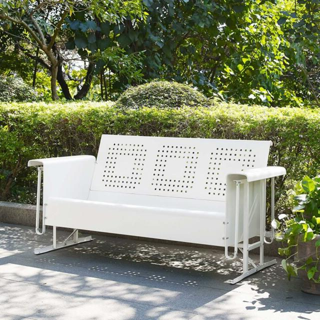 2019 Fanback Glider Benches With Regard To White 3 Person Metal Patio Glider Bench Outdoor Home Seating Furniture Garden (View 17 of 21)