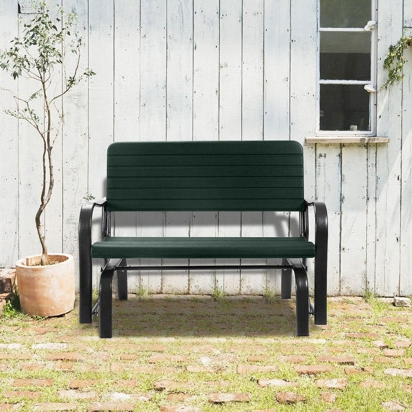 2019 Outdoor Steel Patio Swing Glider Benches In Swing Chair Outdoor Patio Swing Porch Rocker Glider Bench (Gallery 12 of 20)