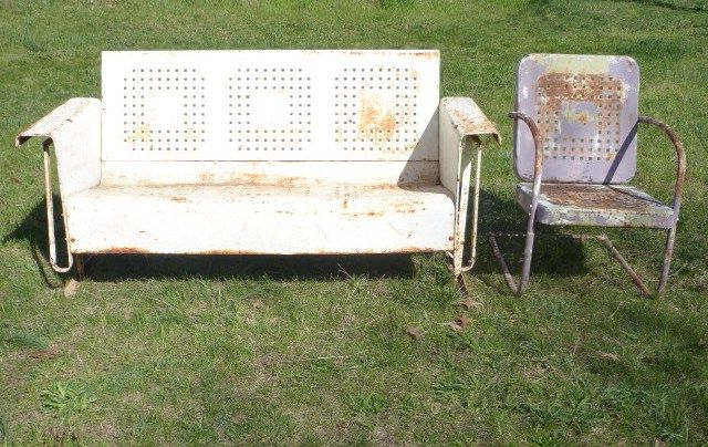 2019 Vintage Porch Glider And Matching Chair This Is From The Throughout Metal Powder Coat Double Seat Glider Benches (View 11 of 20)