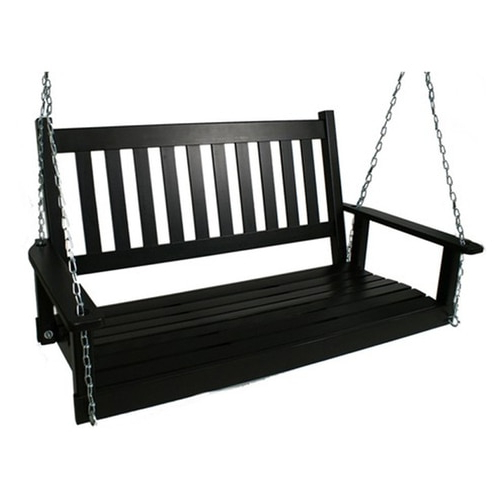 2020 2 Person Black Wood Outdoor Swing Regarding 2 Person Black Wood Outdoor Swings (Gallery 1 of 20)
