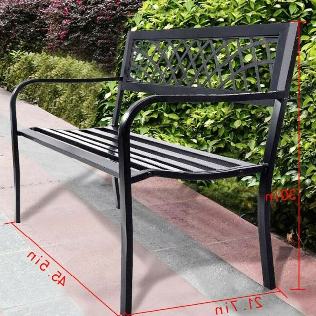 2020 Black Steel Patio Swing Glider Benches Powder Coated With Regard To Park Bench Outdoor Front Porch Patio Deck Garden Metal 50 In Steel Frame Black (View 20 of 20)