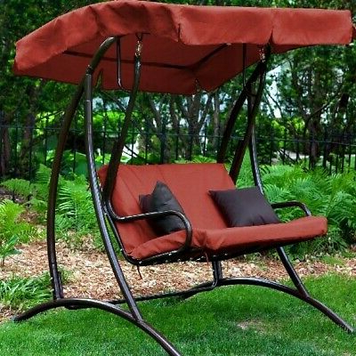 2020 Canopy Patio Porch Swing With Stand Regarding Canopy Swing With Stand Porch Patio Outdoor Chair Terra Cotta Seat Bench Garden (View 11 of 20)