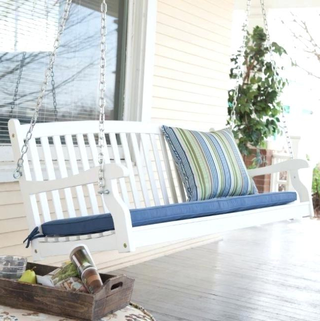 2020 Casual thames White Wood Porch Swings Throughout White Wooden Porch Swing S Wood Swings On 4 Foot Cottage (View 9 of 20)