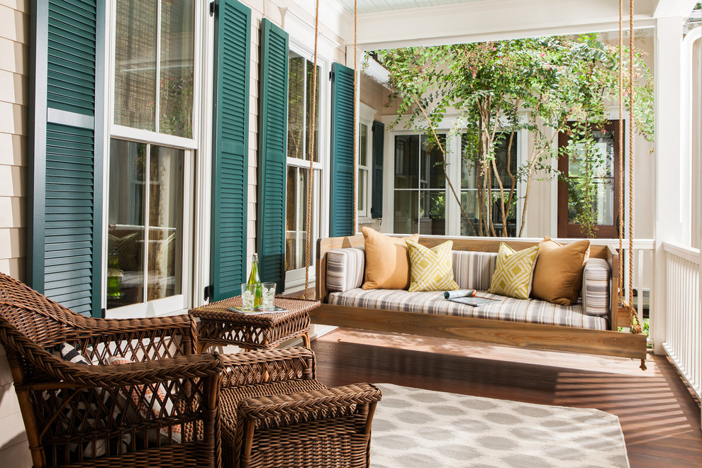 2020 Impressive Wooden Porch Swings In Porch Traditional With For Patio Hanging Porch Swings (Gallery 16 of 20)