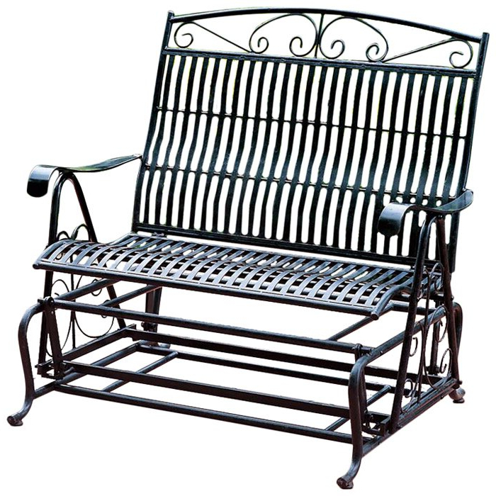 2020 Iron Double Patio Glider Benches Pertaining To Nocona Iron Double Patio Glider Bench (View 18 of 20)