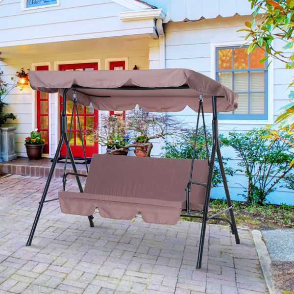 2020 Outsunny Metal 3 Seater Outdoor Patio Swing With Canopy Cushioned Garden Lounger Brown For 3 Seater Swings With Frame And Canopy (View 11 of 20)