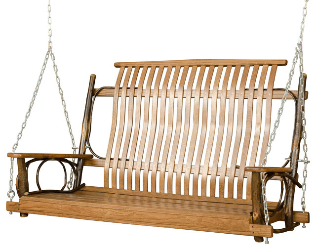 2020 Rustic Hickory 5' Porch Swing With Chains Inside Porch Swings With Chain (View 12 of 20)