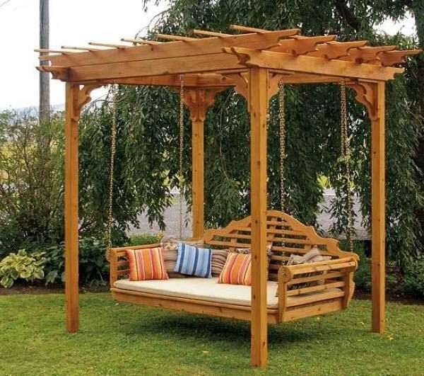 25 Beautifully Inspiring Diy Backyard Pergola Designs For With Most Recently Released A4 Ft Cedar Pergola Swings (Gallery 2 of 20)