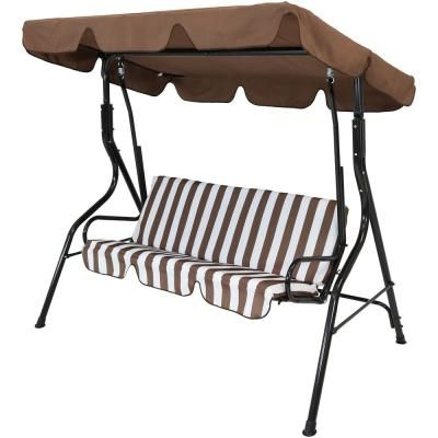 3 Person Brown Steel Outdoor Swings In Latest Sunnydaze Decor 3 Person Black Steel Porch Swing With Brown (View 2 of 20)