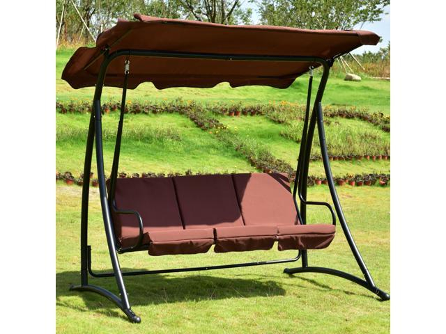 3 Person Brown Steel Outdoor Swings Throughout 2020 Outdoor Patio Swing Canopy 3 Person Awning Yard Furniture (View 4 of 20)