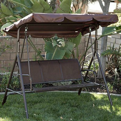 3 Person Brown Steel Outdoor Swings With Regard To Newest Brown 3 Person Patio Canopy Swing Sling Seating Outdoor Home Furniture Poolside (View 5 of 20)