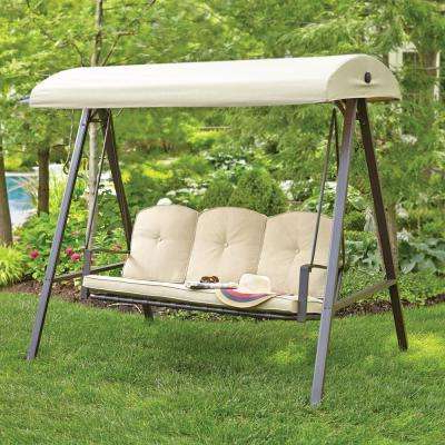 3 Person Brown Steel Outdoor Swings Within Trendy Hampton Bay – Brown – Patio Swings – Patio Chairs – The Home (View 9 of 20)