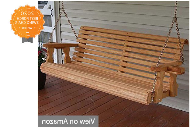 3 Person Light Teak Oil Wood Outdoor Swings Intended For Trendy Best Porch Swing Chairs Reviews And Buyers Guide (Gallery 19 of 20)