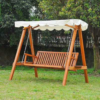 3 Person Light Teak Oil Wood Outdoor Swings Pertaining To Fashionable Outsunny Swing Chair 3 Seater Swinging Wooden Hammock Garden (Gallery 5 of 20)