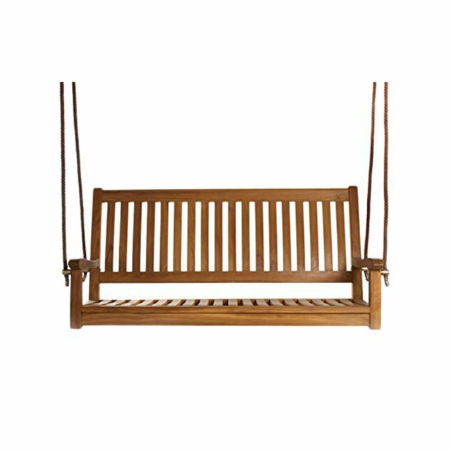 3 Person Light Teak Oil Wood Outdoor Swings With Regard To Most Up To Date All Things Cedar Ts50 Hanging Natural Teak Oil Curved Back Renewable Wood  Swing (View 5 of 20)
