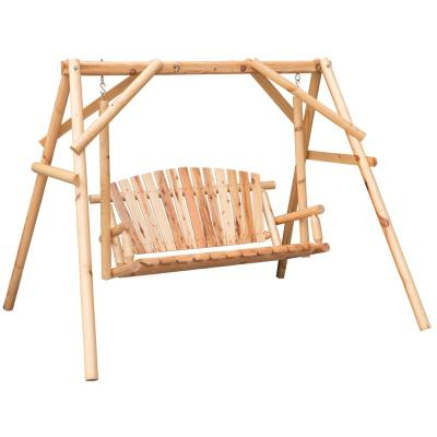 3 Person Natural Cedar Wood Outdoor Swings In Most Up To Date Lakeland Mills 3 Person Patio Yard Swing Cfu28 – The Home Depot (View 6 of 20)