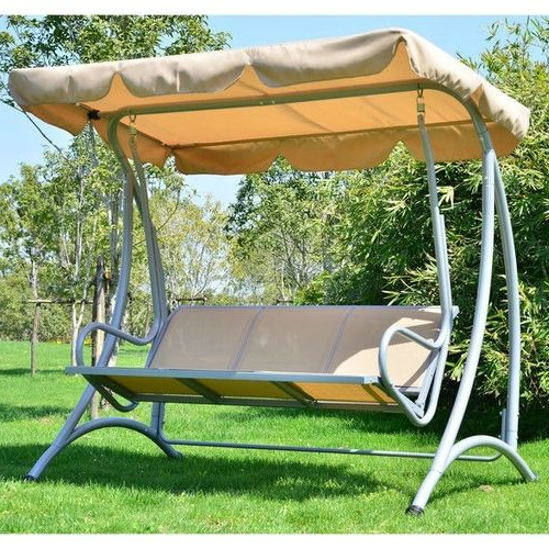 3 Person Outdoor Porch Swings With Stand Intended For Recent Sturdy 3 Person Outdoor Patio Porch Canopy Swing In Sand (View 4 of 20)