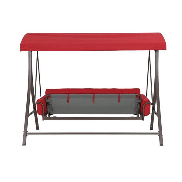 3 Person Red With Brown Powder Coated Frame Steel Outdoor Swings For Well Known 3 Person Red Futon Swing (View 10 of 20)