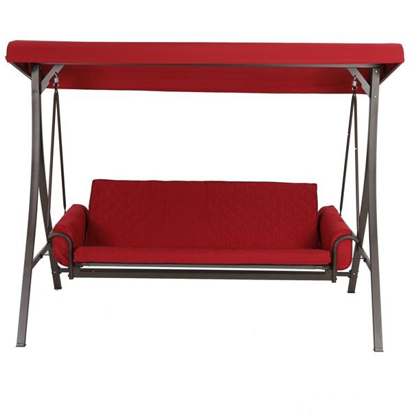 3 Person Red With Brown Powder Coated Frame Steel Outdoor Swings Inside Best And Newest 3 Person Red Futon Swing (View 6 of 20)
