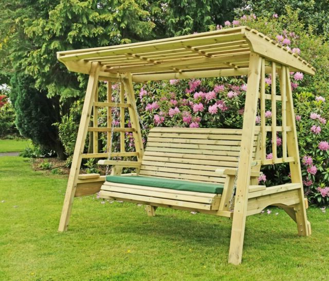 3 Seat Pergola Swings Regarding Newest Wooden Garden Swing Adult Swing Seat Hammock Pressure Treated Solid Swing (View 12 of 20)