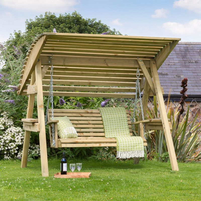 3 Seat Pergola Swings Regarding Well Liked Miami Wooden 3 Seater Garden Swing Seat (View 10 of 20)