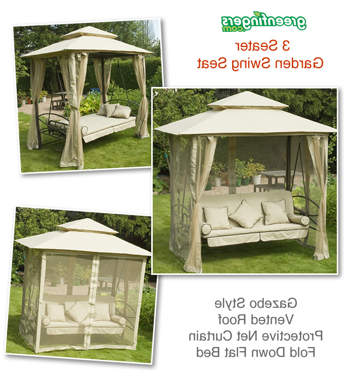 3 Seat Pergola Swings Throughout Fashionable Garden Swing Seat Outdoor Bench Gazebo Daybed Swinging Hammocks (View 11 of 20)