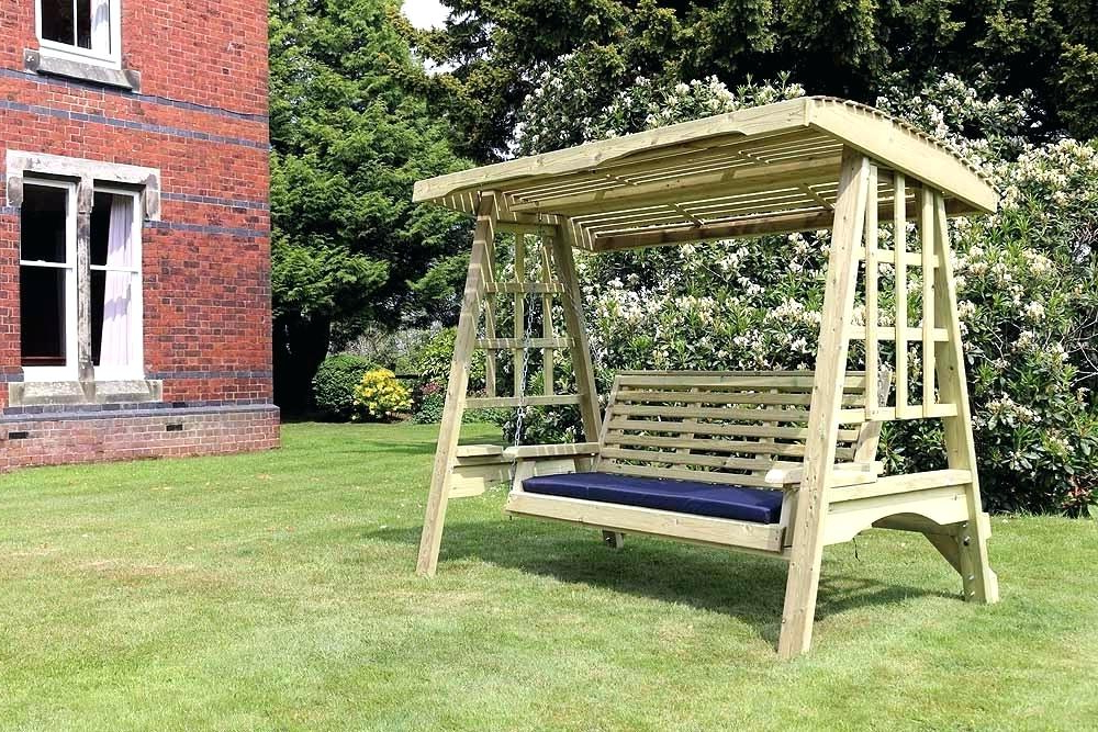 3 Seat Pergola Swings Throughout Most Recent 3 Seater Garden Swing Seat Wooden Chair Cushions – For The (View 4 of 20)