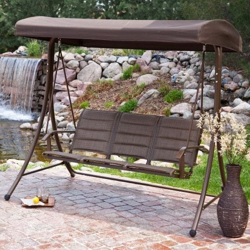 3 Seater Outdoor Canopy Swing With Steel Frame In Bronze Inside 2020 3 Seater Swings With Frame And Canopy (View 20 of 20)