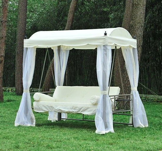 3 Seater Swings With Frame And Canopy Pertaining To Well Known 3 Seater Garden Swing Chair White Canopy Net Cushion Metal (View 7 of 20)