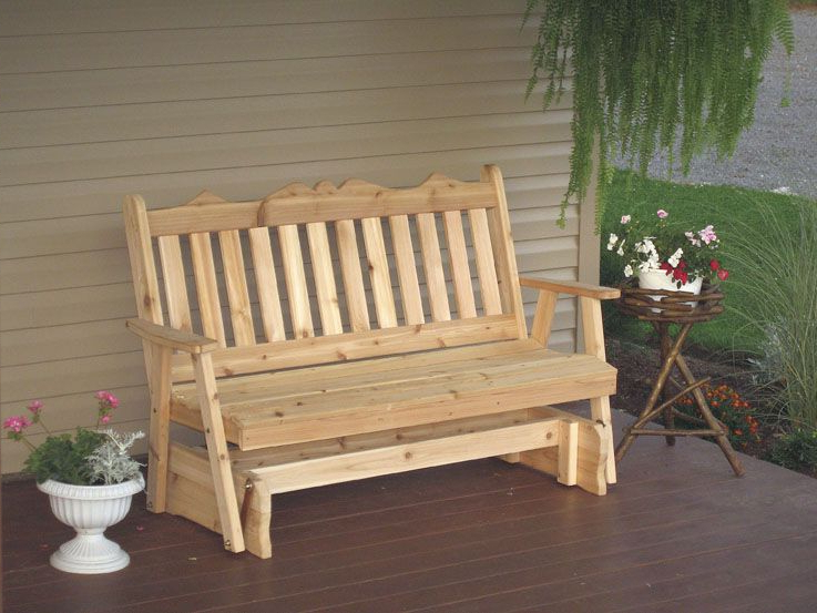 5 Foot Western Cedar Traditional English Porch Glider With Famous Traditional English Glider Benches (View 8 of 20)