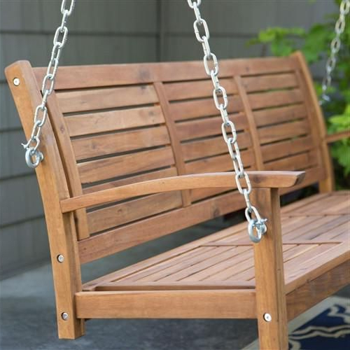 5 Ft Slatted Porch Swing In Natural Acacia Wood With Hanging Pertaining To Most Recently Released Porch Swings With Chain (View 3 of 20)