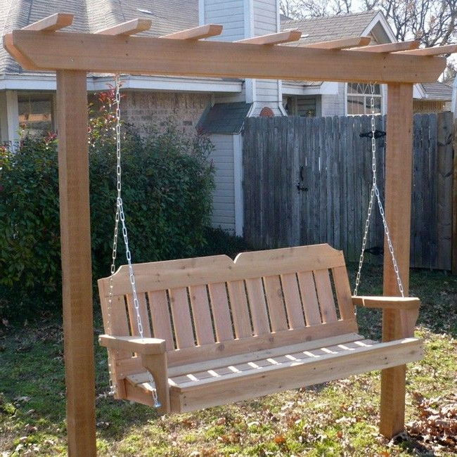 A4 Ft Cedar Pergola Swings For Popular Tmp Outdoor Furniture Victorian Red Cedar Post Style Arbor (View 4 of 20)
