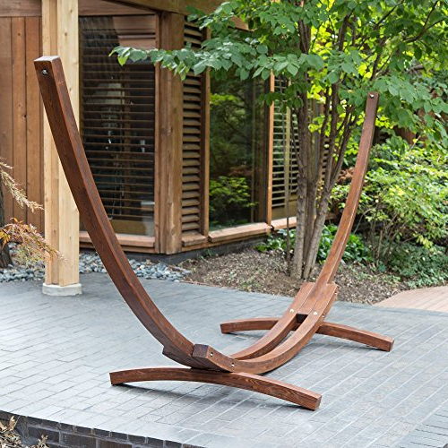 Algoma 15Ft Russian Pine Wood Arc Hammock Stand For Trendy Rosean Porch Swings (View 1 of 20)