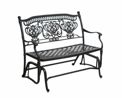 Aluminum Outdoor Double Glider Benches Within Fashionable The Tybe Collection Commercial Cast Aluminum Double Glider (View 6 of 20)
