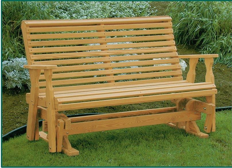 Amish Pine Wood Roll Back Glider Inside Most Current Hardwood Porch Glider Benches (Gallery 4 of 20)