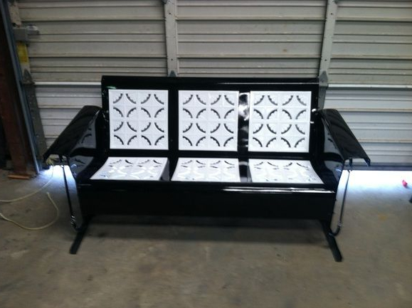 Antique Metal Glider – Piecrust Black And White Powdercoated In Famous 1 Person Antique Black Steel Outdoor Gliders (View 3 of 20)