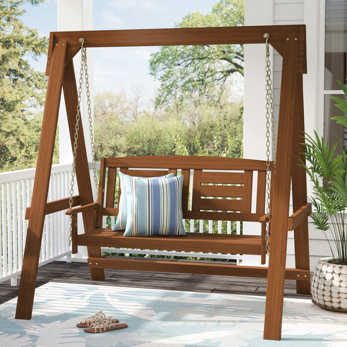 Arianna Hardwood Hanging Porch Swing With Stand Inside Best And Newest Porch Swings (View 1 of 20)