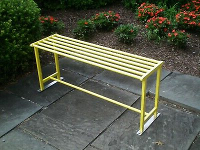 Backless Park Bench – Heavy Duty, Welded Steel / Metal Within Most Popular Indoor/outdoor Double Glider Benches (View 11 of 20)