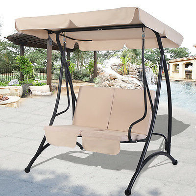 Beige 2 Person Canopy Swing Chair Patio Hammock Seat Intended For 2020 2 Person Outdoor Convertible Canopy Swing Gliders With Removable Cushions Beige (View 14 of 20)