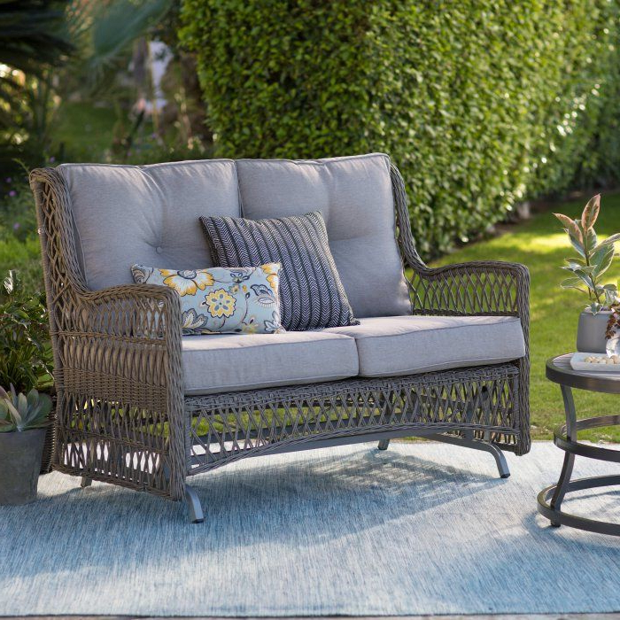 Belham Living Bristol Outdoor Glider Bench With Cushions Pertaining To Widely Used Outdoor Loveseat Gliders With Cushion (View 3 of 20)