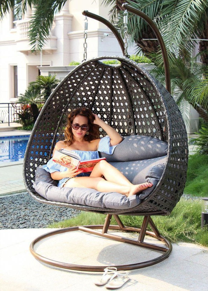 Best And Newest 2 Person Loveseat Chair Patio Porch Swings With Rocker Within 2 Person Wicker Swing Chair Hanging Egg Loveseat Chaise (View 14 of 20)