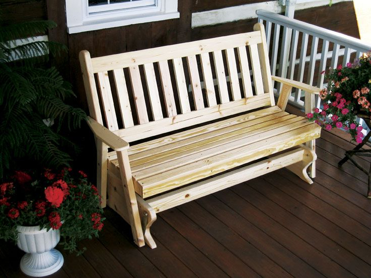 Best And Newest 4' Painted / Stained / Unfinished Pine Traditional English Within Traditional Glider Benches (View 8 of 20)