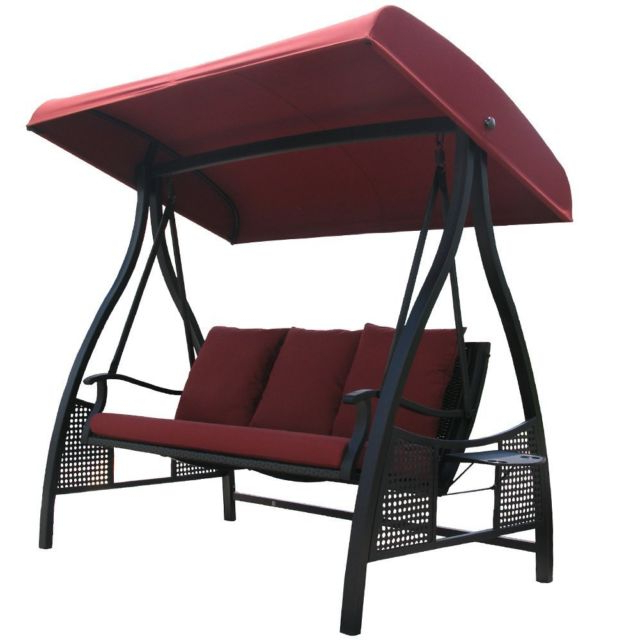 Best And Newest Abba Patio 3 Person Outdoor Metal Gazebo Padded Porch Swing With Patio Gazebo Porch Canopy Swings (View 9 of 20)