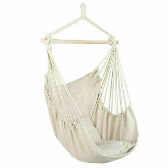 Best And Newest Hanging Rope Chair Porch Swing Yard Garden Patio Hammock Cotton Home Outdoor Inside Cotton Porch Swings (View 14 of 20)