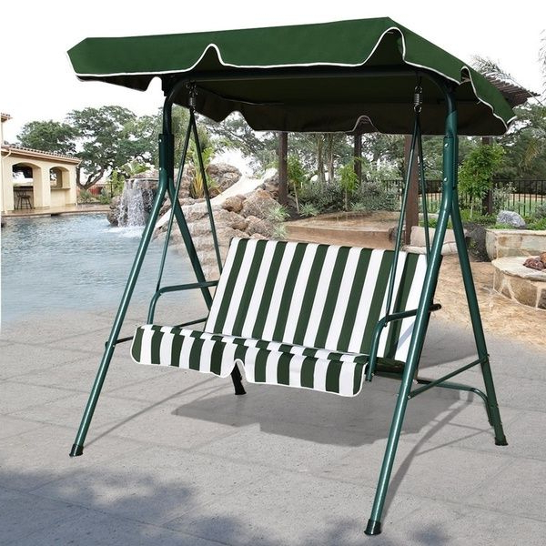 Best And Newest Loveseat Patio Canopy Swing Glider Hammock Cushioned Steel Pertaining To Garden Leisure Outdoor Hammock Patio Canopy Rocking Chairs (View 3 of 20)