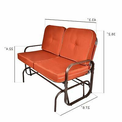 Best And Newest Outdoor Swing Glider Bench 2 Person Porch Loveseat Rocking Throughout 2 Person Loveseat Chair Patio Porch Swings With Rocker (View 9 of 20)
