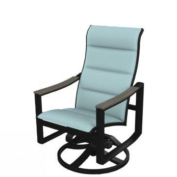 Best And Newest Padded Sling High Back Swivel Chairs Regarding Brazo Padded Sling High Back Swivel Rocking Chair (View 14 of 20)
