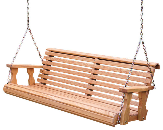 Best And Newest Porch Swings With Chain Regarding Heavy Duty Roll Back Porch Swing, Hanging Chains, Cedar Stain, 4' (View 1 of 20)