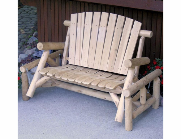 Best And Newest Rustic White Cedar Log Fan Back Glider With Fanback Glider Benches (View 7 of 21)